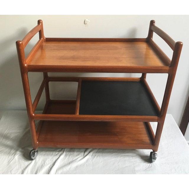 Brown Johannes Andersen Mid-Century Solid Teak Bar Cart For Sale - Image 8 of 11