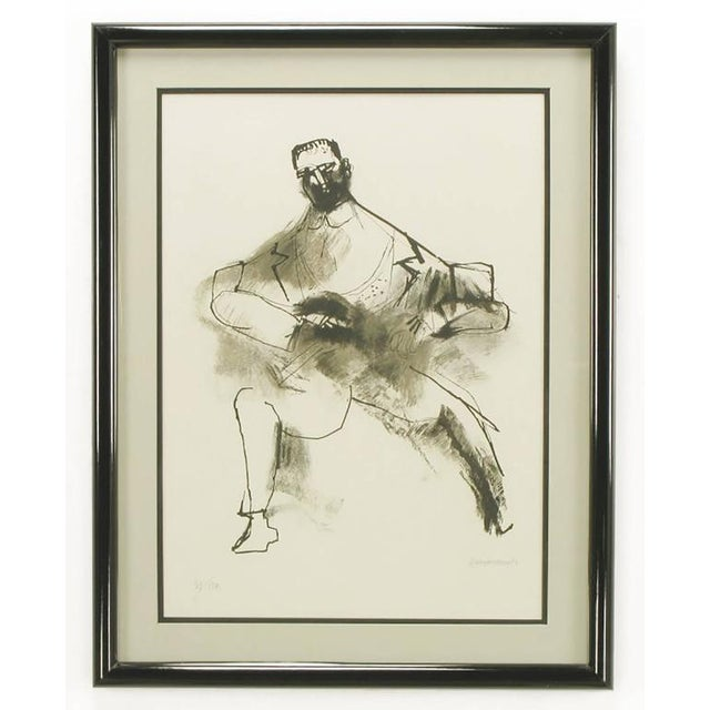 Abraham Rattner (1893-1978) signed and numbered limited edition abstract print of a man and his dog. Black and white with...