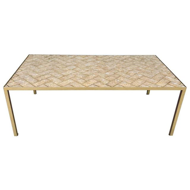Maitland-Smith Inlaid Capiz Shell Coffee Table For Sale - Image 9 of 9