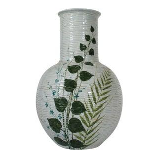 Decorative Italian Ceramic Vase W/ Foilage For Sale