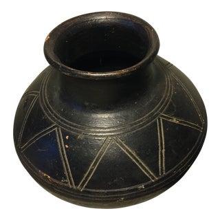 Vintage Black Pottery Jar For Sale
