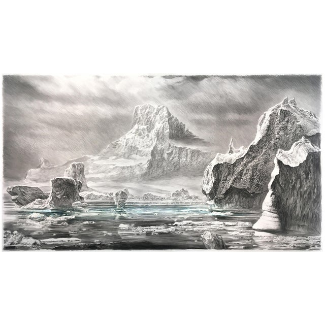 """Contemporary Contemporary """"Iceberg"""" Rick Shaefer Charcoal Print For Sale - Image 3 of 3"""