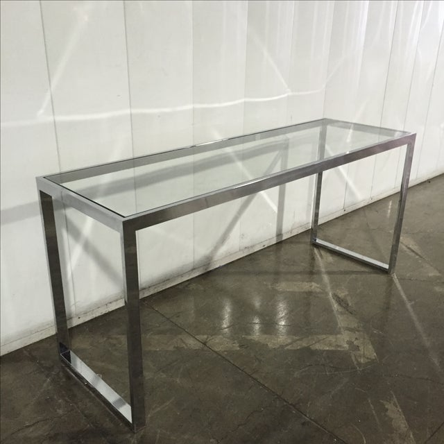 Milo Baughman Chrome Console Table - Image 5 of 7