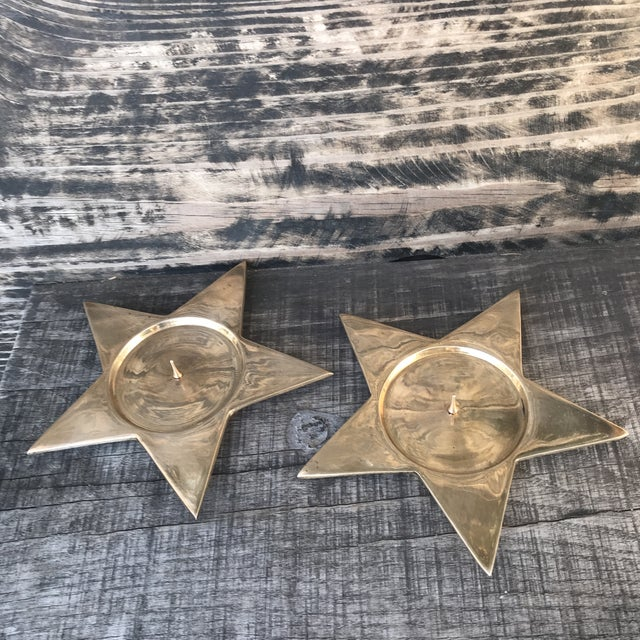 Gold Vintage Star Shape Solid Brass Pillar Candle Holders - a Pair For Sale - Image 8 of 9