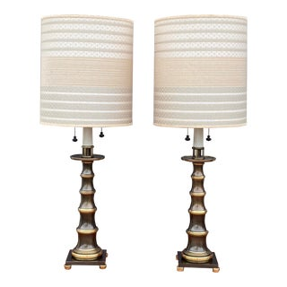 Stiffel Faux Bamboo Table Lamps With Original Shades - a Pair For Sale