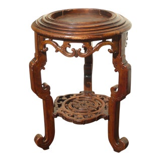 Vintage Asian Oriental Jardiniere Carved Wood Plant Stand Side Table For Sale