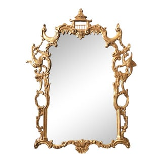 Chinoiserie Chippendale Gilt Wood Carved Mirror