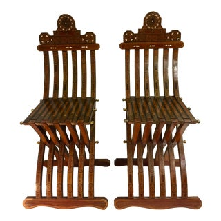 1960s Vintage Moroccan Mother of Pearl Folding Chairs- a Pair For Sale
