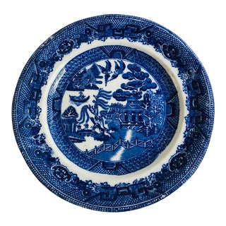 """Antique Staffordshire Blue Willow 9"""" D Plate For Sale"""