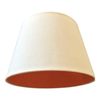 White Fabric Lamp Shade With Orange Lining For Sale