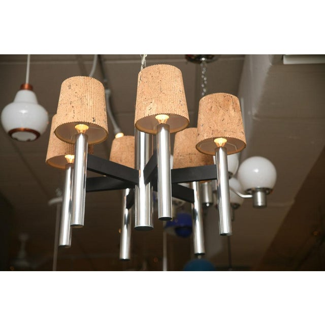 Smart 60's Chrome Tubular Chandelier with Cork Shades - Image 3 of 11