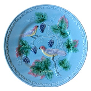 Blue German Birds & Grape Motif Majolica Plate For Sale