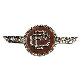 Art Deco Enamel Marcasite Initial Brooch For Sale