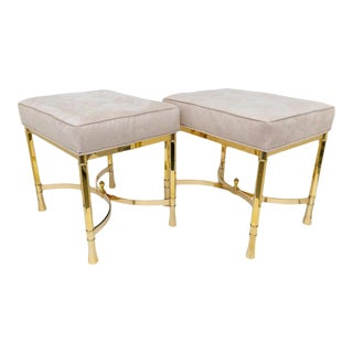 Vintage Mastercraft Benches Stools Brass and Ultrasuede - a Pair For Sale