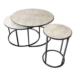 Round Marble Nesting Tables - Set of 3