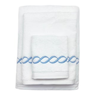 Scalloped Chain Towel Set in Light Blue - 3 Pieces For Sale