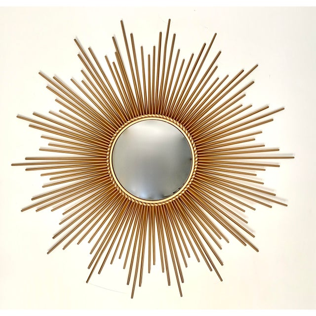 Glass Mid-Century Modern Sunburst Convex Mirror For Sale - Image 7 of 7