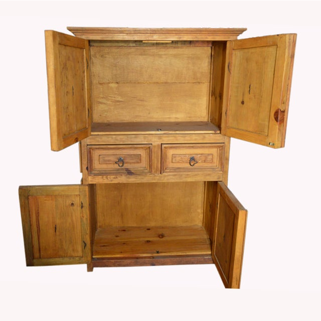 Vintage Natural Wood Indonesian Armoire For Sale - Image 4 of 8