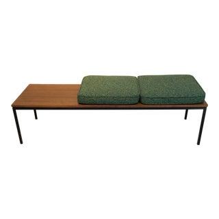 Mid-Century Modern Walnut Bench With Cushions