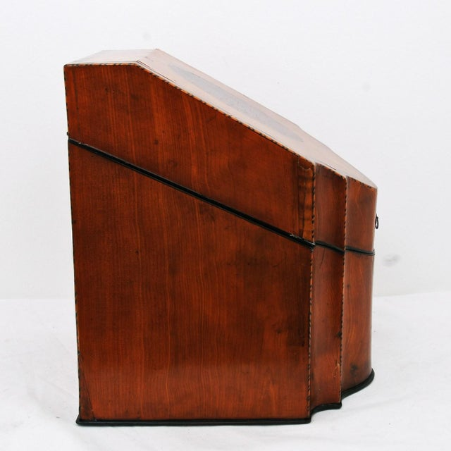 English Traditional 19th Century English Satin Wood & Mahogany Georgian Cutlery Box For Sale - Image 3 of 5