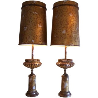 Pair of Att. To James Mont Camouflaged Silver & Gold Table Lamps For Sale