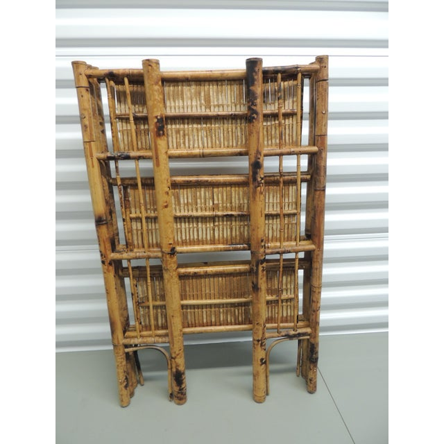 Antique English Country Faux Bamboo Folding Etagere - Image 6 of 6