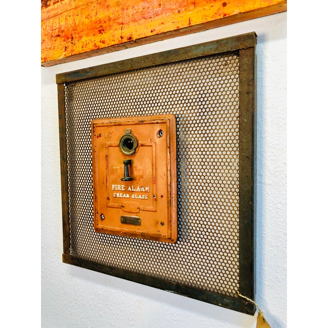 Vintage Metal Wall Panel Industrial Art With Fire Department Alert Alarm Call Box A great addition to any residential or...