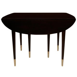 Signed John Widdicomb Ebonzied Walnut and Brass Drop-Leaf Table For Sale