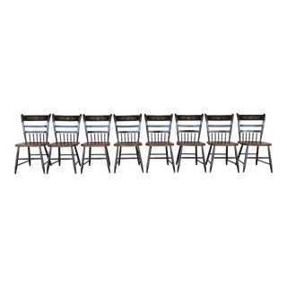 L. Hitchcock Country Sheraton Black Harvest Arrow Back Side Chairs - Set of 8