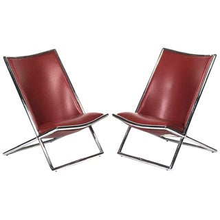 Pair of Ward Bennett Leather Scissor Chairs, Modern For Sale