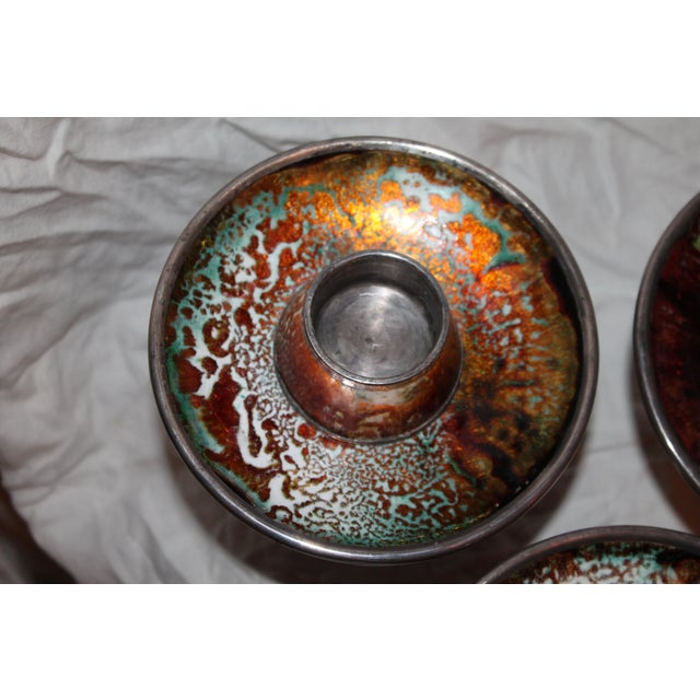 Silver 1930s Signed & Stamped Maison Bagues Enameled French Art Deco Candle Holders - Set of 3 For Sale - Image 8 of 13