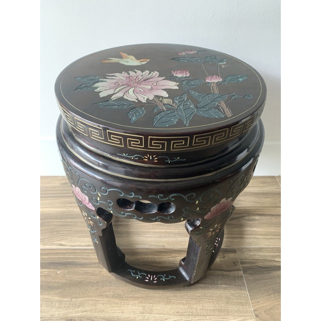 Chinoiserie Coromandel Lacquered Side Table With Birds and Flowers For Sale - Image 10 of 10