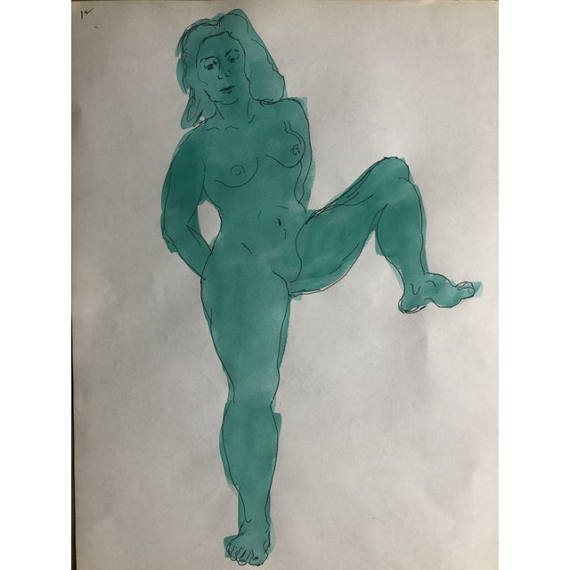 Figurative Green Posing Female Nude, Circa 1950s For Sale - Image 3 of 4