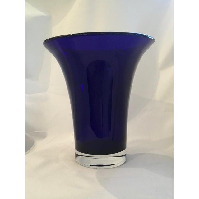Vintage Hand-Blown Flared Cobalt Blue Cased Glass Vase - Image 2 of 7