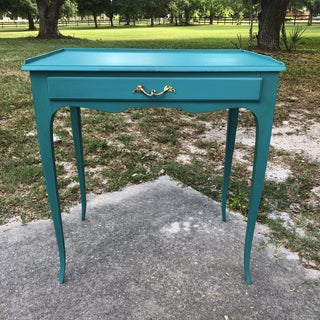1950s French Provincial Turquoise Accent Table With Drawer Preview