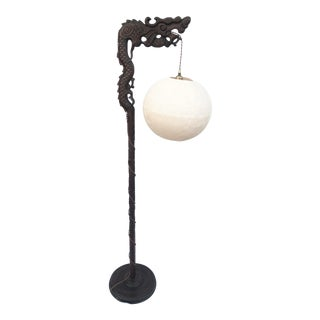 1920s Chinese Dragon Pole Lamp With Modern Woven Globe Shade For Sale