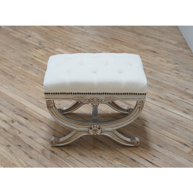 Traditional Eliza Tufted Stool by Frontgate For Sale - Image 3 of 7