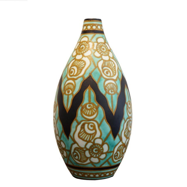 Black Early 20th Century Charles Catteau Earthenware Vase For Sale - Image 8 of 8