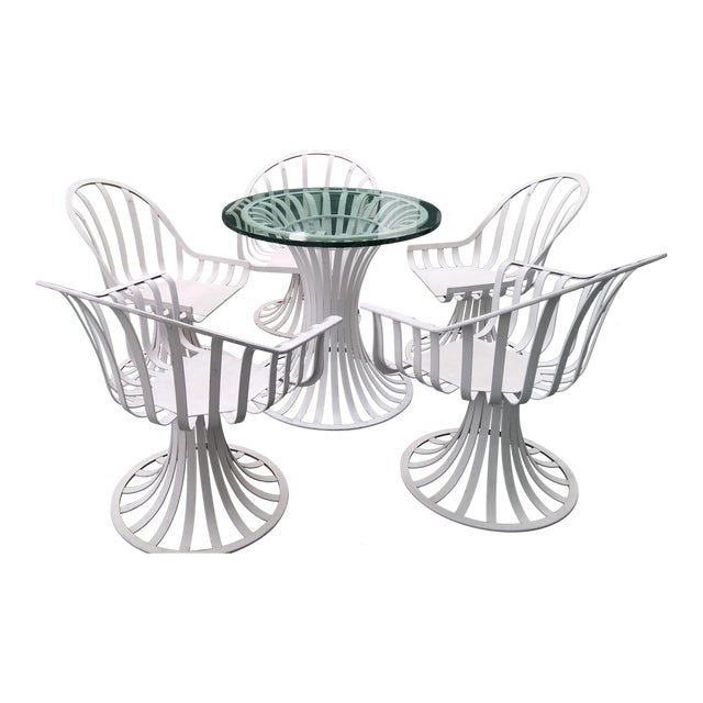 Russell Woodard Mid-Century Aluminum Table & 5 Chairs - Image 1 of 11