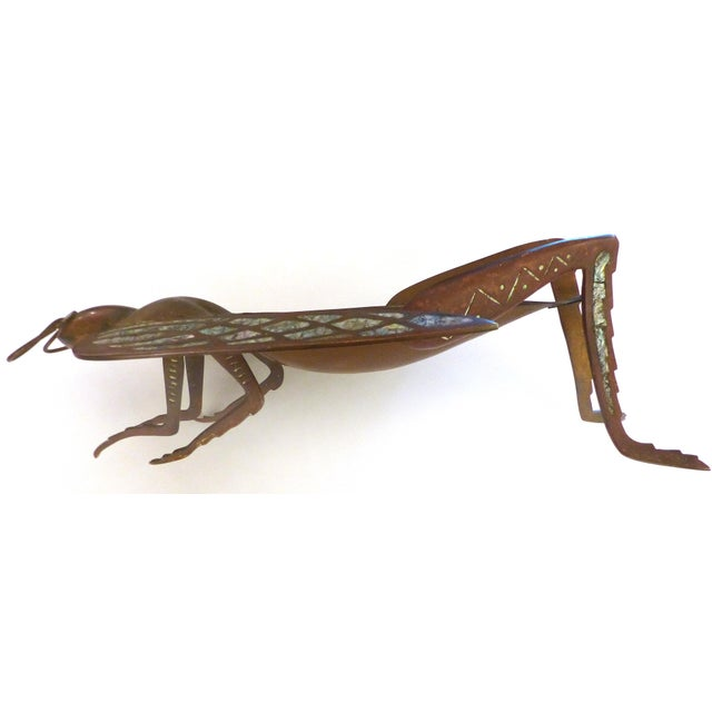Mid-Century Modern Los Castillo Brass, Copper & Abalone Grasshopper Dish attrib. Salvador Teran For Sale - Image 3 of 10
