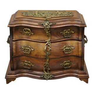 Antique Miniature Mahogany & Brass Continental Bombe Jewelry Box Chest For Sale