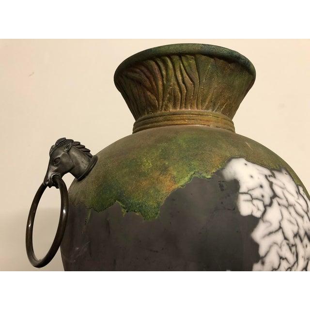 Green Tony Evans Raku Large Vase With Metal Horse Handles For Sale - Image 8 of 13
