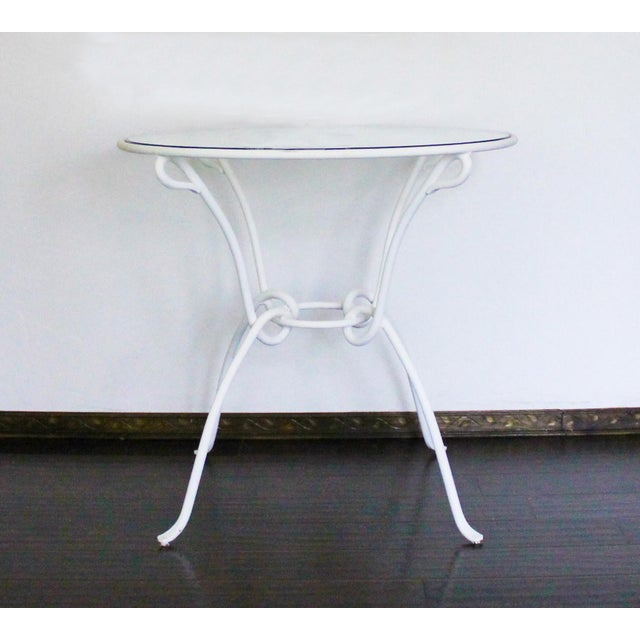 White Vintage White Metal Iron Glass Dining Table For Sale - Image 8 of 8