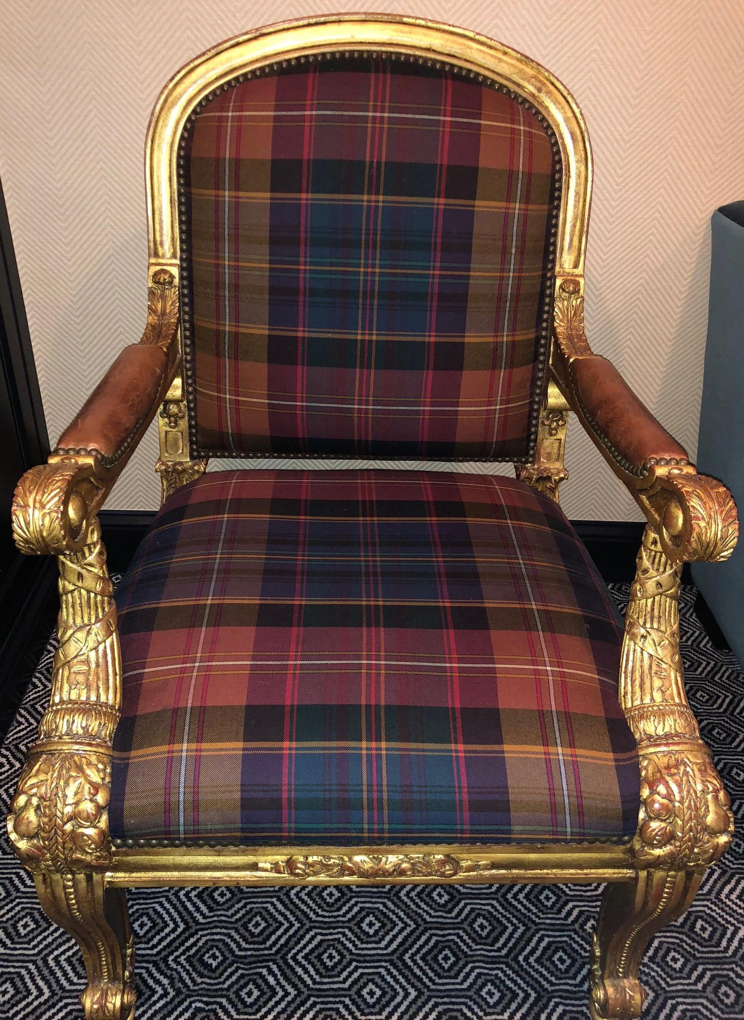 Ralph Lauren Carved Gold, Plaid U0026 Leather Chair   Dukeu0027s Host Chair   Image  4