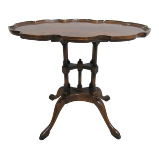1990s Tradiitonal Custom Flame Mahogany Pie Crust End Table For Sale