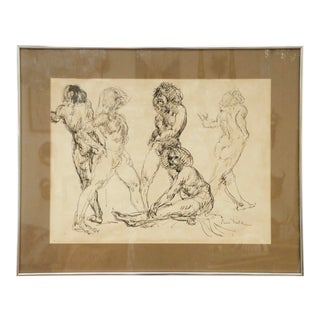 """""""Five Nudes"""" Line Drawing by Louis Field For Sale"""