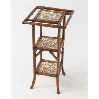 19th Century Antique English Jackson Bros Shelton Jackson on Trent Tile Bamboo Etagere Stand Preview