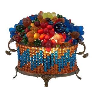 Czech Fruit Glass Table Lamp For Sale