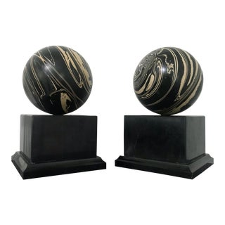 Vintage Marble Base Swirl Sphere Bookends - A Pair