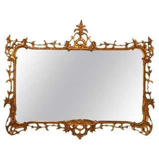 Antique Gilt Wood Over the Mantle Console or Wall Mirror